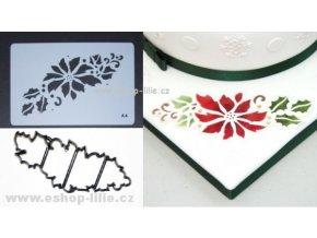 Vánoční růže patchwork + stencil